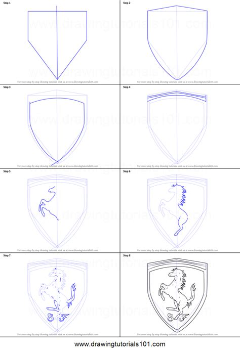 ferrari logo drawing how to draw ferrari logo printable step by step drawing