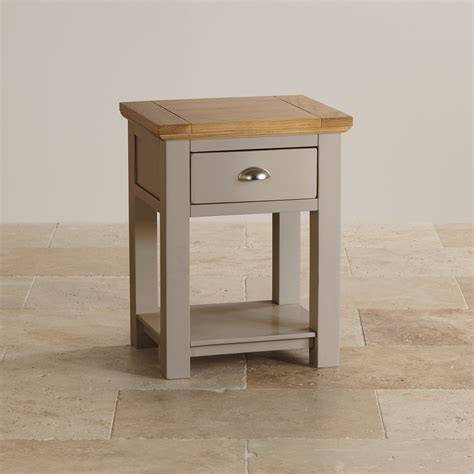 furniture light grey st ives l table in light grey painted acacia with oak top
