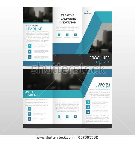 blue business trifold leaflet brochure flyer template vector gray brochure template design blue stock vector