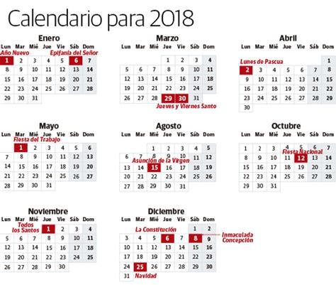 Calendario 2018 Laboral España En 2018 Habr 225 Diez Festivos Comunes En El Calendario