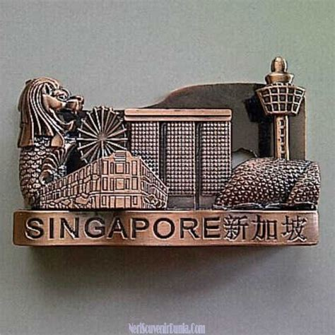 Tempat Kartu Nama Magnetik Cokelat jual souvenir tempat kartu nama singapore