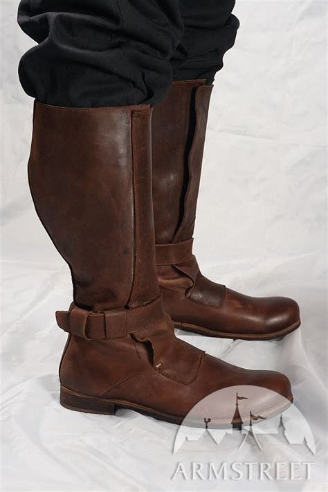 Handmade Renaissance Boots - renaissance high leather boots for sca and reenacment for