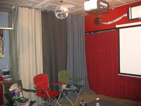 garage turned party room love  curtains hiding junk