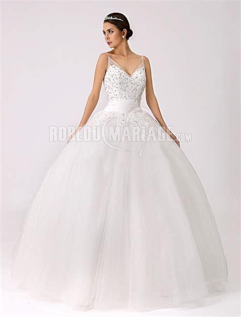Robe De Mariée Princesse Bustier Paillette - robe de mari 233 e romantique paillette organza col en v