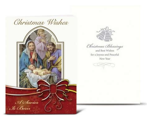 holy family  red bow christmas card set