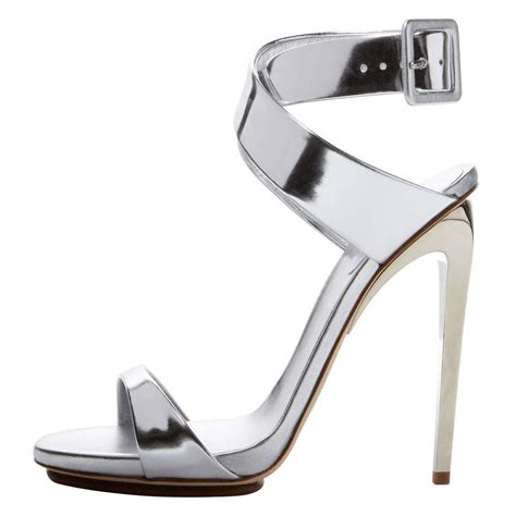 silver sandals high heels giuseppe zanotti new metallic silver leather strappy high