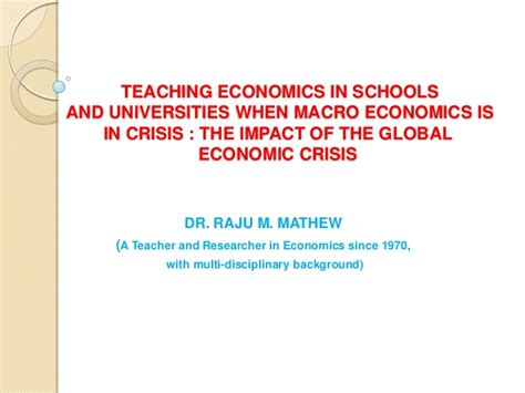 Bu Mba Ma In Economics by Teaching Economics And Management In Schools And