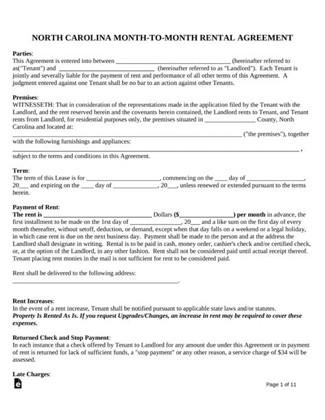 Free North Carolina Month To Month Rental Agreement Template Pdf Word Eforms Free Free Nc Lease Agreement Template