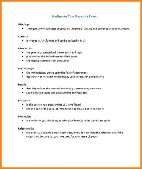 outline exle research paper 5 apa research paper outline letter format for
