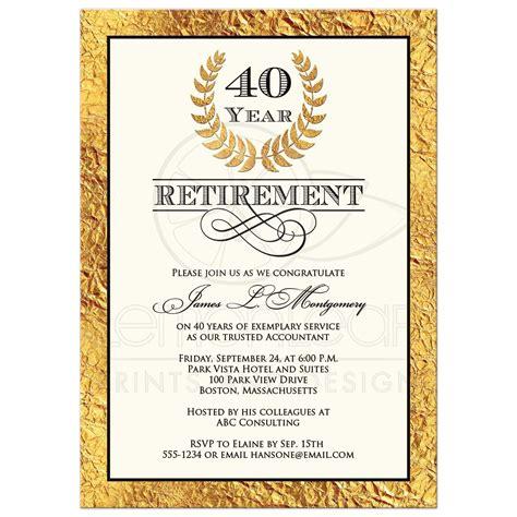 retirement invitation 40 year retirement invitation distinguished faux