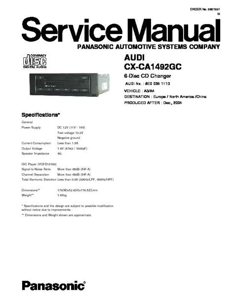 Panasonic CX-CA1492GC Service Manual — View online or