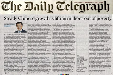 new year article the daily telegraph publishes a signed article by