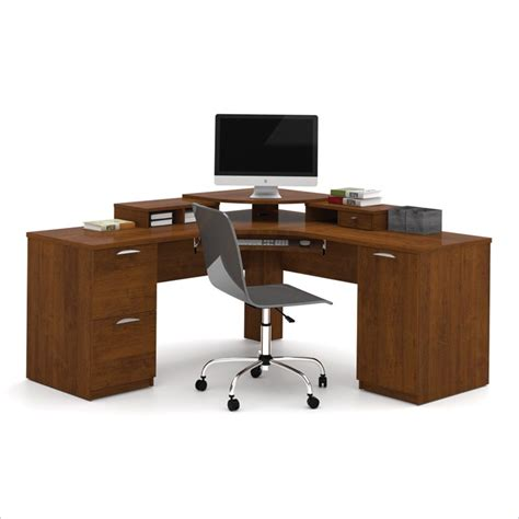 Bestar Elite Home Office Corner Wood Tuscany Brown Wood Home Office Desks