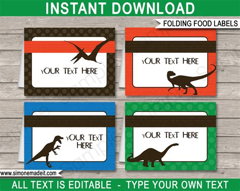 food card templates dinosaur theme food labels place cards dinosaur