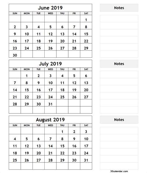 june july august  calendar printable template  word