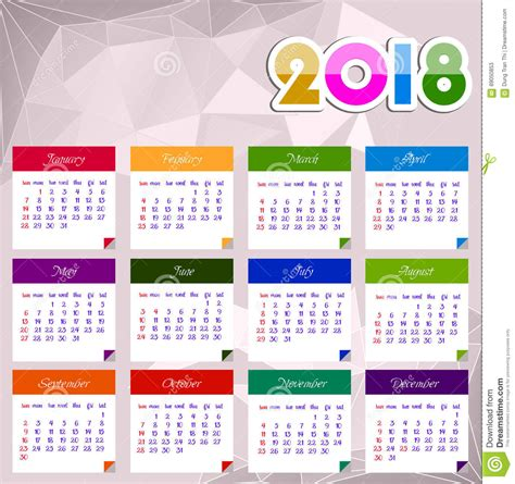 Calendrier 2018 Illustrator Calendar 2018 Happy New Year Vector Illustration Stock