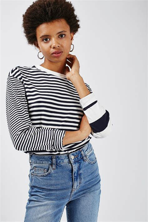 mixed stripe s m l blouse mixed stripe sleeve top topshop