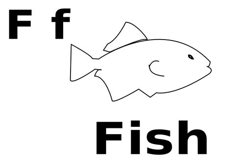 F For Fish Black White Line Art Coloring Book Colouring F Is For Fish Coloring Page 2