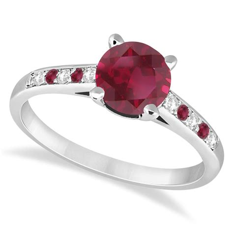 Ruby 7 20ct cathedral ruby engagement ring 18k white gold 1 20ct