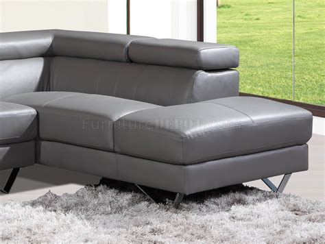 grey leather sectional 6201 amalia sectional sofa in grey leather by at home usa