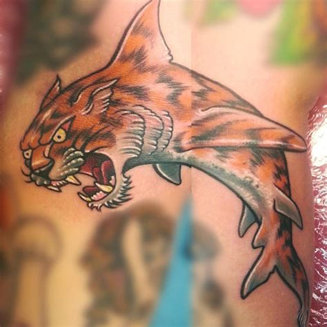 wonderful tiger shark tattoo design for half sleeve