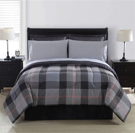 plaid bed comforters colormate york complete bed plaid home bed bath