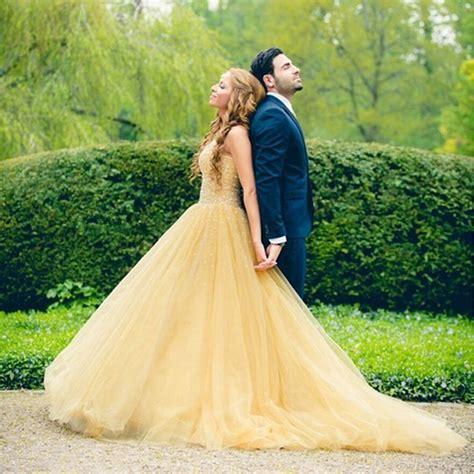 Wedding Dresses Handmade - amazing yellow wedding dress handmade beaded bridal gown