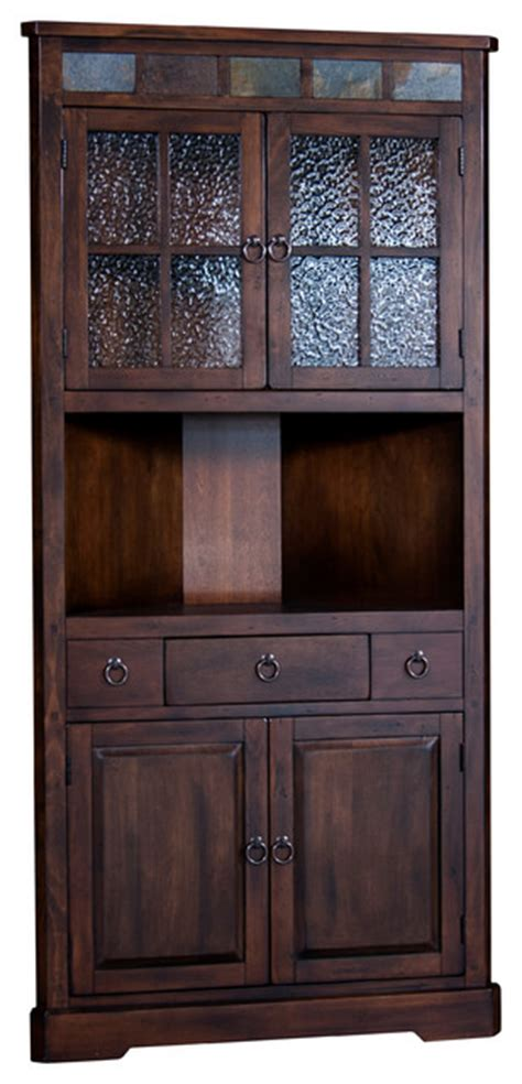 santa fe corner china cabinet traditional china