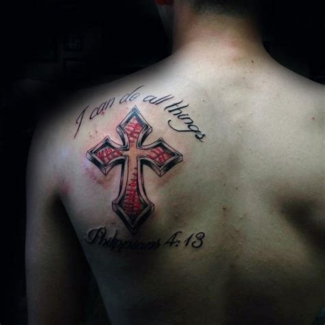 cross tattoo between shoulder blades 20 baseball cross tattoo designs for men religious ink ideas