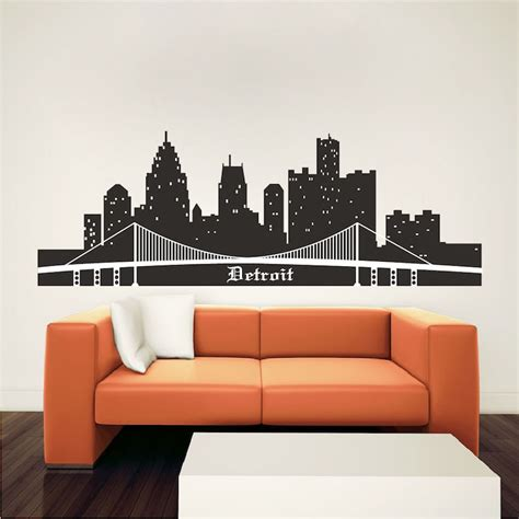 wall murals cityscapes detroit skyline wall mural decal cityscape wall decal murals primedecals