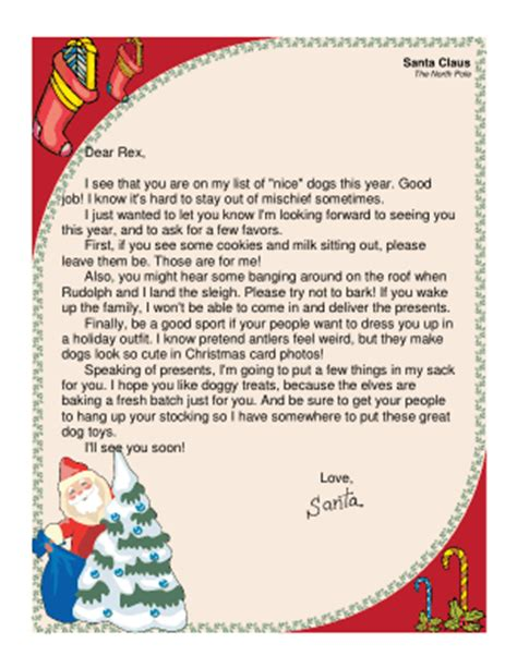free printable letters santa naughty list letter from santa to a dog