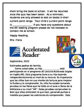 Accelerated Reader Parent Letter Uk accelerated reader parent information letter by