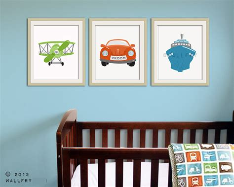 Nursery Wall Decor For Boys Transportation Wall Tranpsortation Prints For Boys Nursery