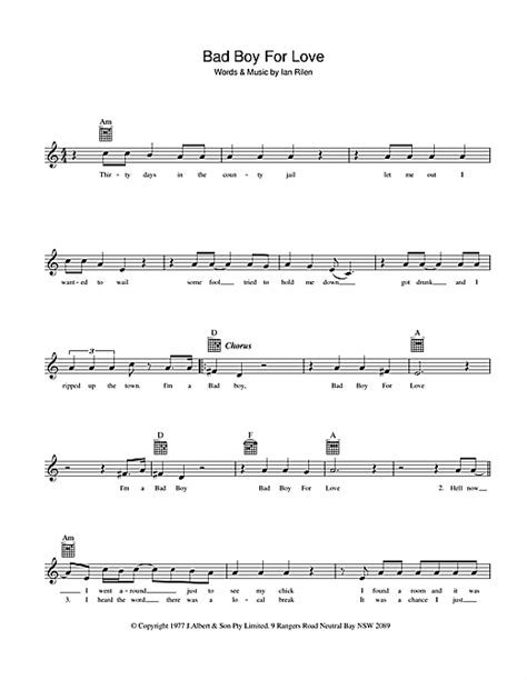 rose tattoo chords bad boy for chords by melody line