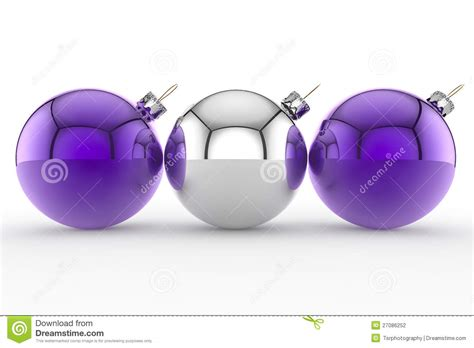 three purple and silver christmas baubles stock