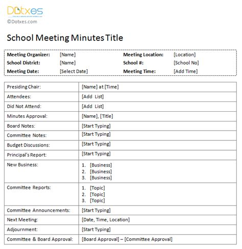 School Meeting Minutes Template Dotxes Free Printable Meeting Minutes Template