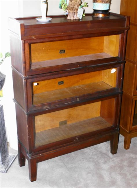 Walnut Three Stack Lawyer Or Barrister Bookcase For Sale
