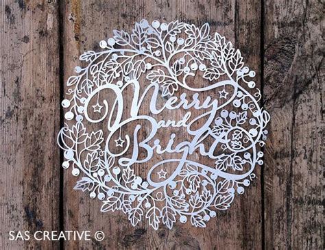 Christmas Papercut Template Merry Bright Pdf By Sascreative Silhouette Templates For Paper Cutting