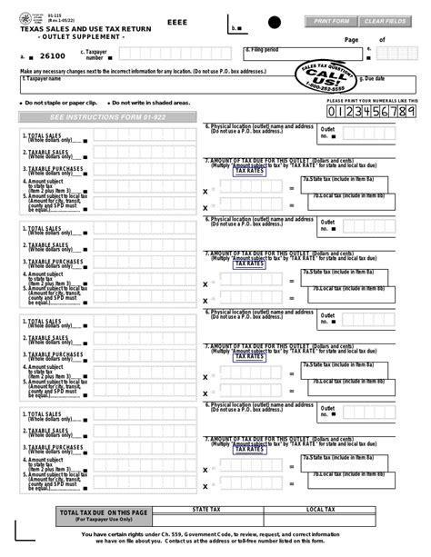 sales tax return format texas fireworks tax forms 01 115 texas sales use tax