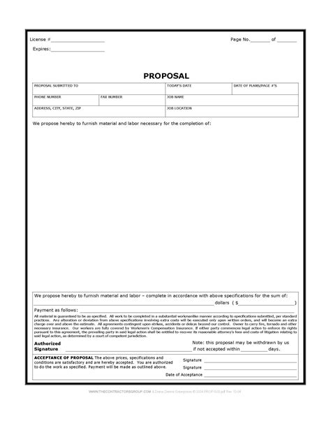 free construction proposal template download quotes