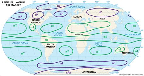 america air mass map continental arctic air mass principal world air masses