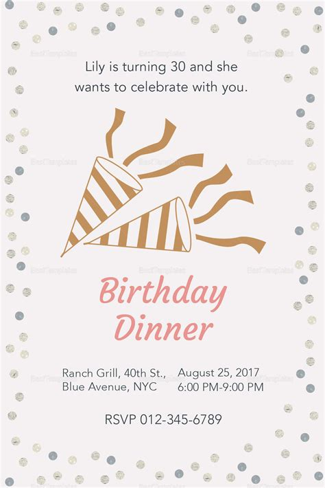 invitation template for birthday with dinner birthday dinner invitation design template in psd word