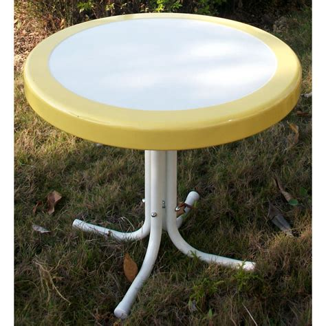 Retro Patio Table Retro Metal Side Table White Yellow Dcg Stores