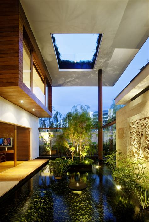 interior of contemporary house design ideas with roof