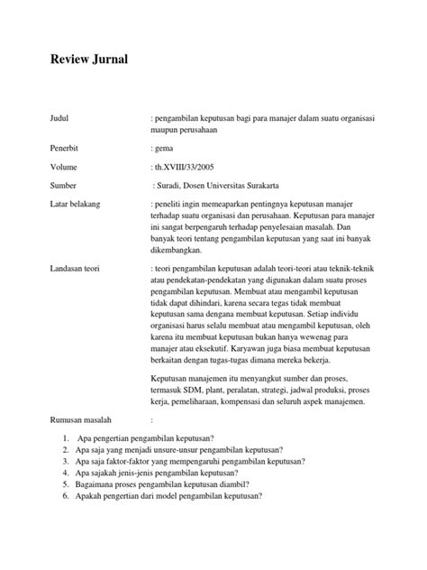membuat jurnal review review jurnal pengambiln keputusan docx