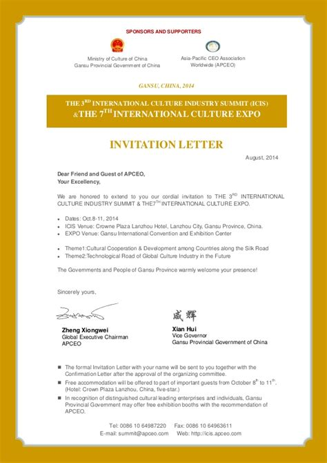Invitation Letter Slideshare 3rd inernational culture industry summit icis the 7th