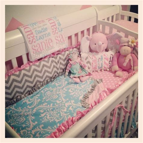 Aqua Pink Crib Bedding Aqua Pink White And Gray Crib Bedding Nursery Inspiration Pinterest