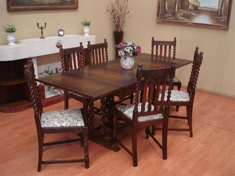 Antique Oak Dining Room Table Antique Oak Barley Twist Extension Draw Leaf Dining Room Table Only 8 Seater Ebay
