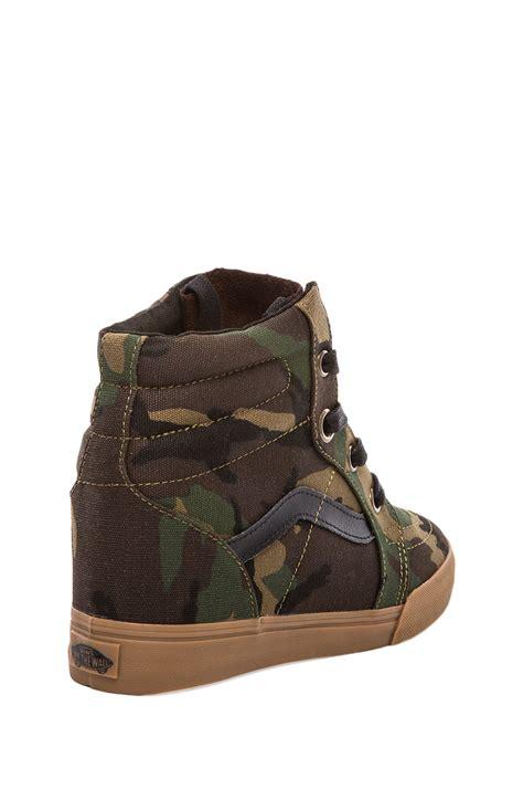 vans wedge sneakers vans sk8hi wedge sneaker in olive in green lyst