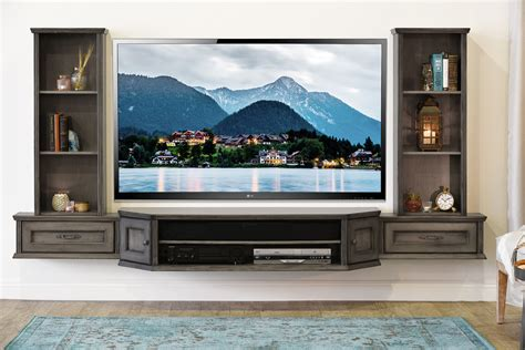 Floating Tv Stand Living Room Furniture Transitional Floating Entertainment Center Vintage 3 Bookcases Driftwood